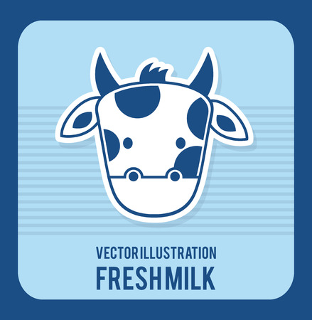 pasteurized: Fresh milk design over blue background illustration Illustration