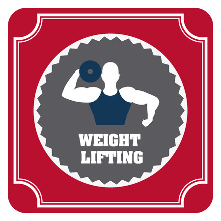 over weight: Weight lifting design over red background illustration