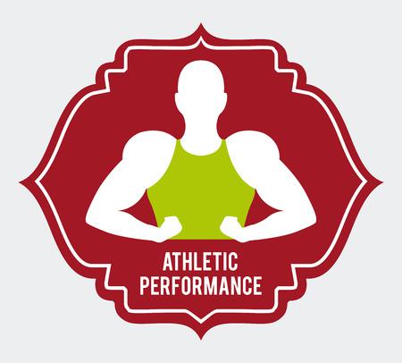 athletic type: Athletic performance design over white background illustration