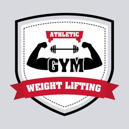 over weight: Weight lifting design over gray background illustration
