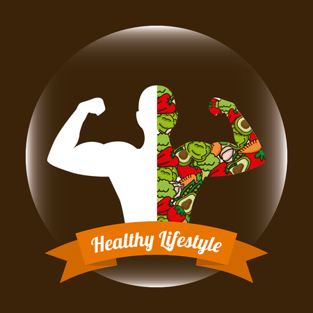 athletic type: Healthy lifestyle design over brown background illustration