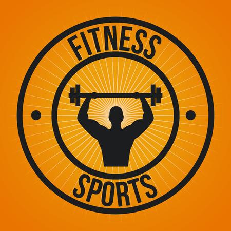 Fitness sport design over orange background  illustration Vector