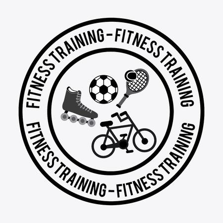 fitness training: Fitness training design over white background illustration