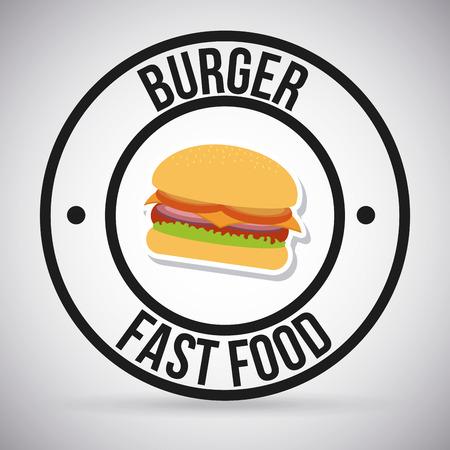 fast food burger design over gray background illustration Vector
