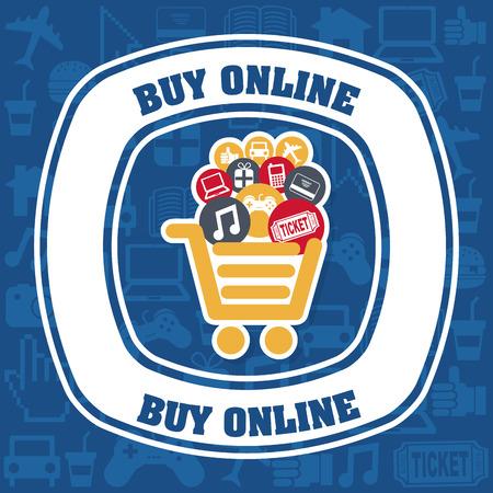 buy online design over blue background illustration Vector