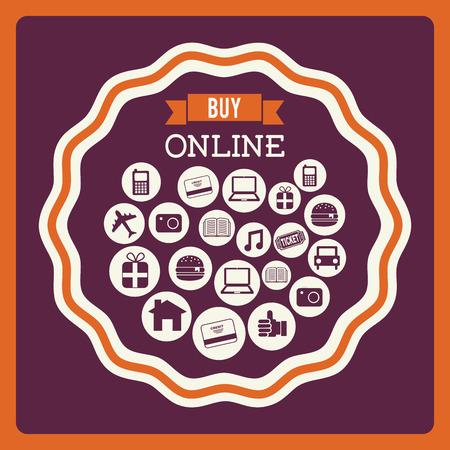 buy online design over purple background illustration Vector