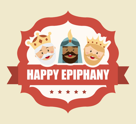 happy epiphany over pink background illustration