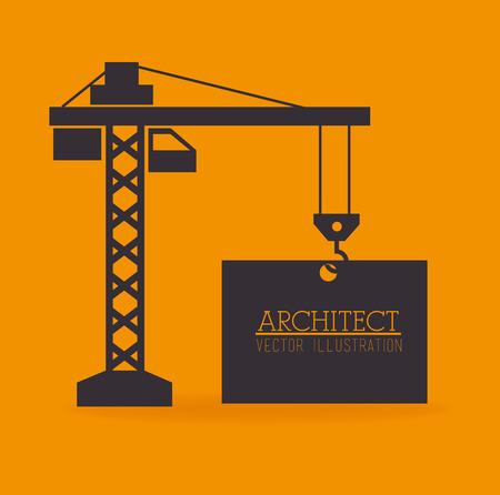 bouwkraan: Bouwkraan ontwerp over gele achtergrond, vector illustratie