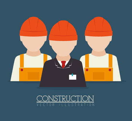 construction team: Construction team design over blue background illustration