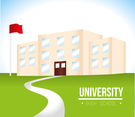 college building: University Education design over landscape background illustration