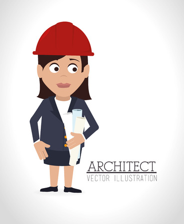 Construction architect design over white background illustration Vector