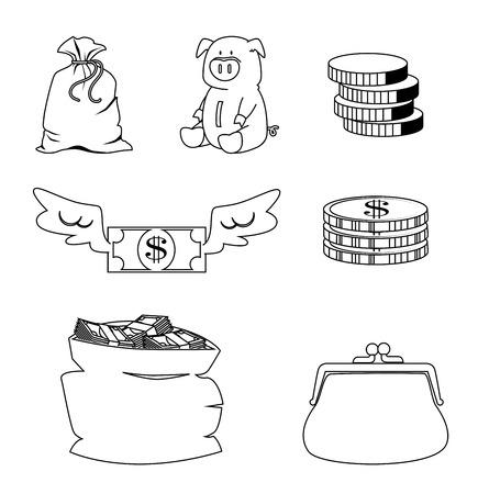 Money elements design over white background illustration Vector