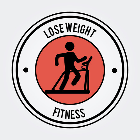 over weight: Lose weight Fitness design over white background illustration