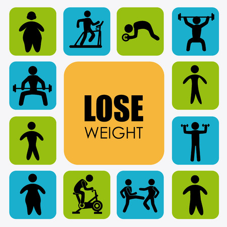 over weight: Lose weight design over white background illustration