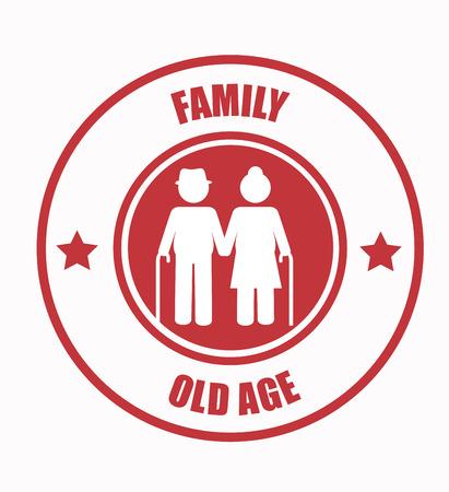 happy older couple: Old age Family design over white background illustration