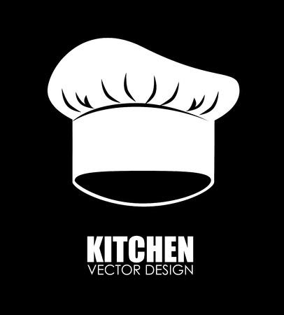 chef kitchen: Kitchen chef hat design over black background illustration