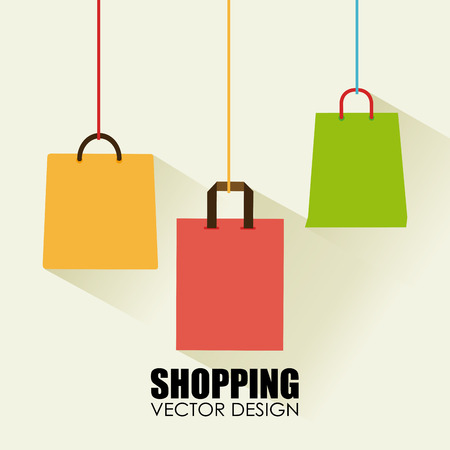 comprando: Bolsas de la compra de dise�o sobre el fondo de la ilustraci�n de color beige