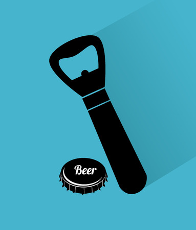 Beer opener design over blue background illustration