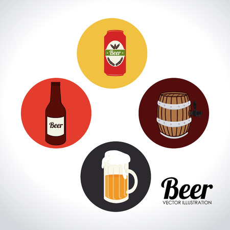 Beer design over white background illustration Vector