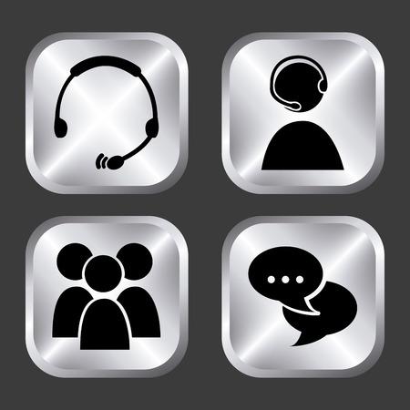 business communication design over black background illustration Vector