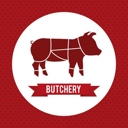 meat design over  red background vector illustration Vector