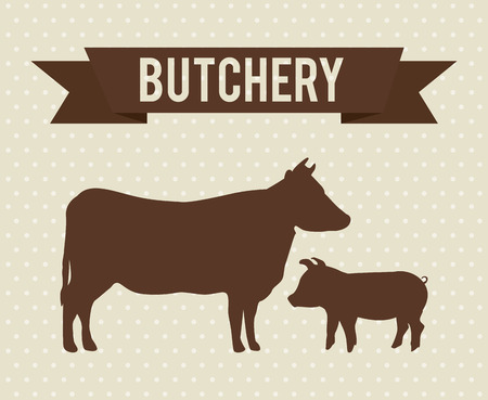 butchery design over dotted background illustration Vector