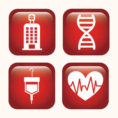 adn: Diseño médico sobre fondo blanco Ilustración