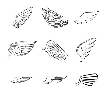 날개는 흰색 배경 그림 위에 디자인 일러스트