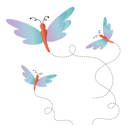buterfly: Butterfly design over white background illustration