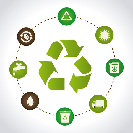 enviromental: Recycle design over white background illustration Illustration