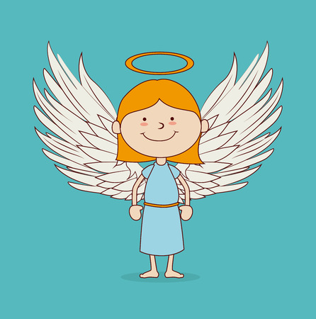 hapiness: Angel Wings design over blue background illustration