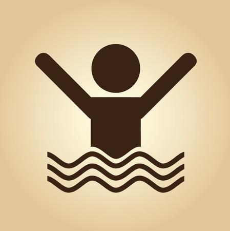 swiming: insurance design over beige  background vector illustration Illustration