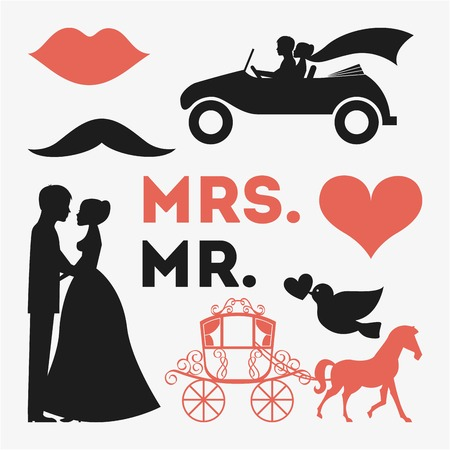 señora: diseño de boda sobre fondo blanco ilustración vectorial Vectores