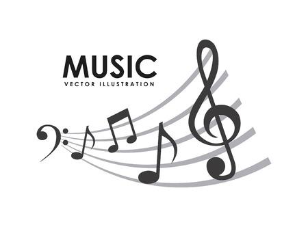 nota musical: diseño de la música sobre fondo blanco ilustración vectorial Vectores
