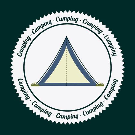 esploratori: camping disegno su sfondo verde illustrazione vettoriale