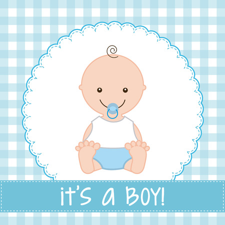 baby boy announcement: baby design over  pattern background vector illustration Illustration