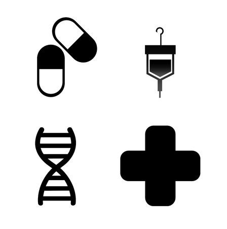 adn: médico, diseño sobre fondo blanco ilustración vectorial Vectores