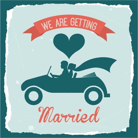 getting married: wedding design over blue  background vector illustration