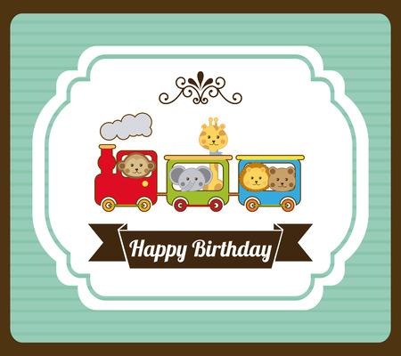 girafe: Birthday design over pattern background, vector illustration