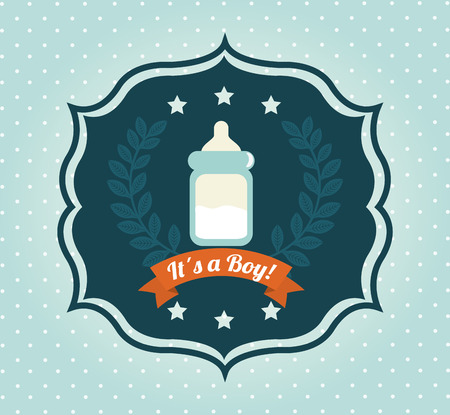 baby boy announcement: baby design over dotted background vector illustration