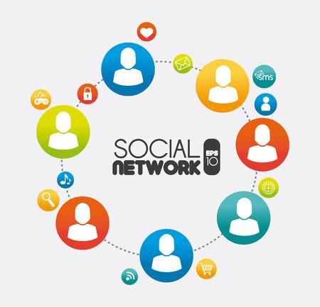 socializando: Dise�o de la red social sobre el fondo blanco, ilustraci�n vectorial