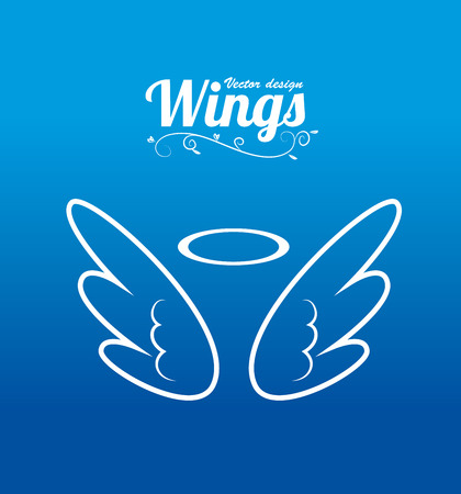 angel silhouette: Wings design over blue background, vector illustration