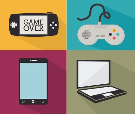 videogame: Videogame  design over colorful background, vector illustration Illustration