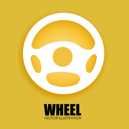 Wheel design over yellow background, vector illustration Vector