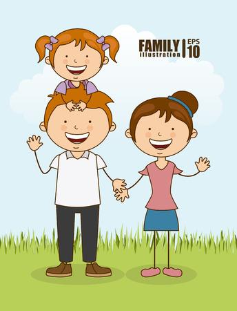 family design over sky background vector illustration
