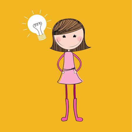 girl design over yellow  background vector illustration Vector
