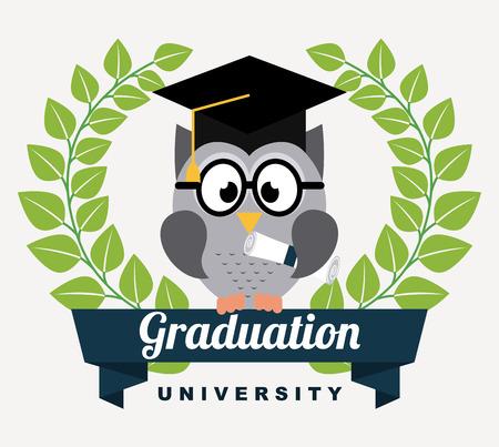 graduation design over white  background vector illustration Vector
