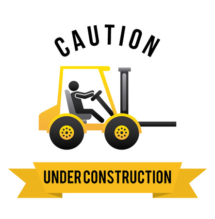 tractor warning: construction design over white  background vector illustration Illustration