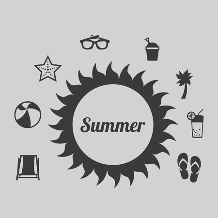 summer vacations over gray background vector illustration Vector