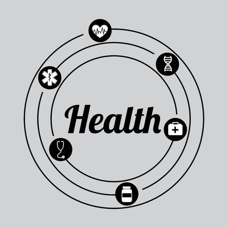 icone sanit�: Icone di salute sul grigio backgroun, disegno vettoriale Vettoriali